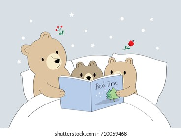 One night, Mom bear and baby two bears  reading fables before bedtime On a white mattress happily vector.