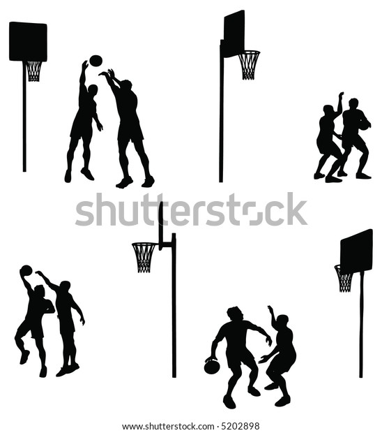 One on one. Basketball duel silhouette