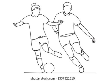 one open single drawn line art doodle play, female, girl, game, competition, ball, football. Isolated hand-drawn outline image on white background. girl playing football