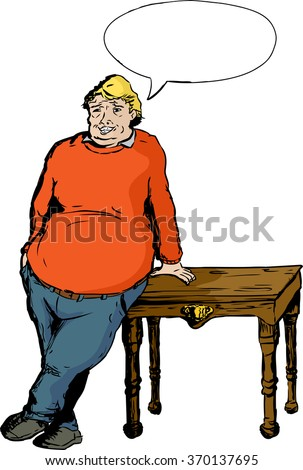 Chubby mature on a table