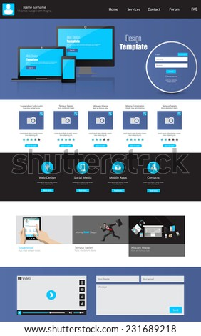 One page business website template home stock vector royalty free one page business website template home page design clean and simple vector illustration wajeb Images