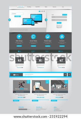 One page business website template home stock vector royalty free one page business website template home page design clean and simple vector illustration flashek Images