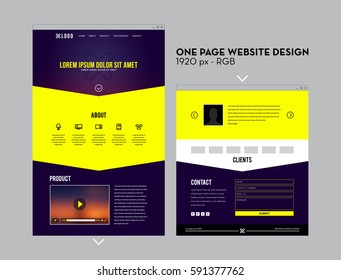 One Page, Dark Blue and Yellow Minimalist Website Design