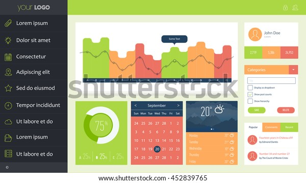 One Page Dashboard Template Design Stock Vector Royalty