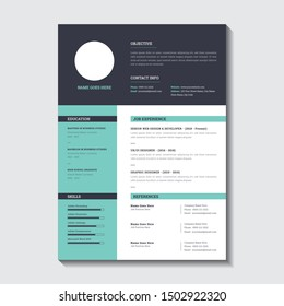 One Page Resume CV Cover Letter Template