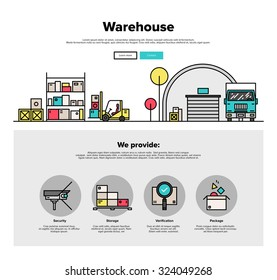 One page web design template with thin line icons of wholesale warehouse storage, forklift lorry loading goods in box for truck delivery. Flat design graphic hero image concept website elements layout