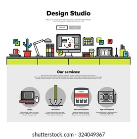One page web design template with thin line icons of design studio agency services. Digital graphics, web develop and apps prototyping. Flat design graphic hero image concept, website elements layout.