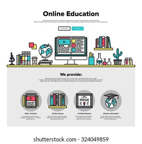 One page web design template with thin line icons of internet education in online classroom, video tutorials, certified degree for all. Flat design graphic hero image concept, website elements layout.