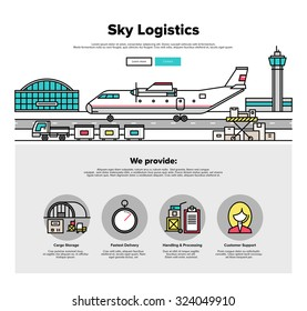 One page web design template with thin line icons of heavy airplane freight on airport loading platform, commercial shipment by airline. Flat design graphic hero image concept, website elements layout