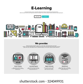 One page web design template with thin line icons of e-learning education process, applied science study, distance class for web course. Flat design graphic hero image concept, website elements layout