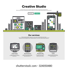 One page web design template with thin line icons of creative studio services like web coding for responsive design and app development. Flat design graphic hero image concept, website elements layout
