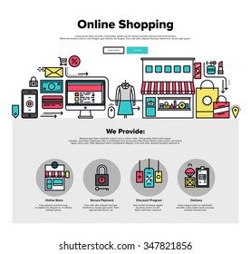 One page web design template with thin line icons of shopping online process, internet merchant marketplace, customer order delivery. Flat design graphic hero image concept, website elements layout.