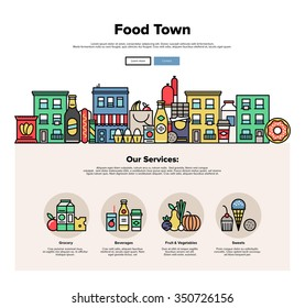 One page web design template with thin line icons of local food stores in a small city, town facade with various groceries and sweets. Flat design graphic hero image concept, website elements layout.