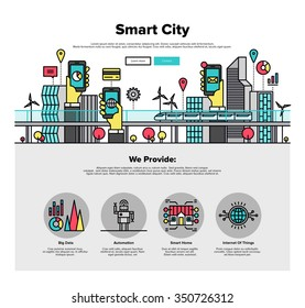 One page web design template with thin line icons of smart city and internet of things and everything, future technology for living. Flat design graphic hero image concept, website elements layout.