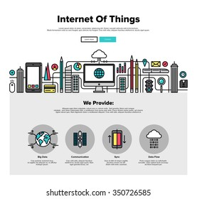 One page web design template with thin line icons of internet of things data technology, network infrastructure of connecting everything. Flat design graphic hero image concept website elements layout