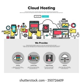 One page web design template with thin line icons of cloud hosting provider service, network server communication, business data solution. Flat design graphic hero image concept website element layout