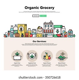 One page web design template with thin line icons of organic food and fresh natural products, small city store with vegetarian groceries. Flat design graphic hero image concept website elements layout