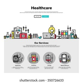 One page web design template with thin line icons of medical laboratory with scientist doctor, healthcare research and diagnostics. Flat design graphic hero image concept, website elements layout.