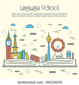 One page web design template, line art flat icons based on language school training program, study foreign language abroad, internet lessons. Hero image, website layout and website slider.