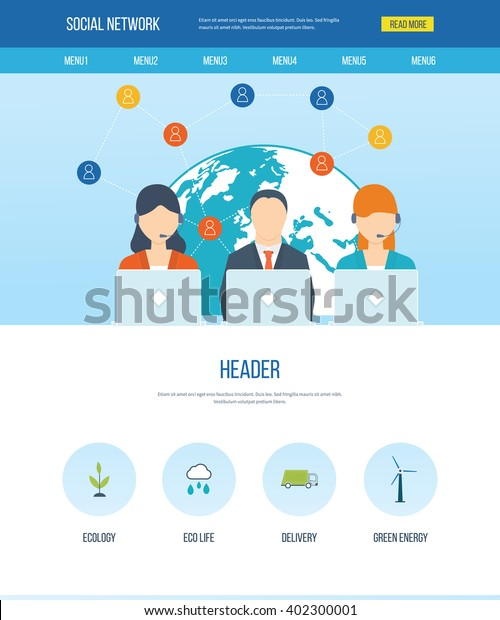 One Page Web Design Template Icons Stock Vector Royalty Free 402300001