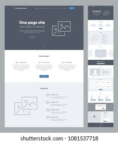 One page website design template for business. Landing page wireframe. Flat modern responsive design. Ux ui website: home, advantages, features, video, team, partners, prices, contacts, email, form.