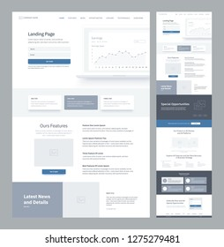 One page website design template for business. Landing page wireframe. Flat modern responsive design. Ux ui website: home, features, news, opportunities, subscribe, explore, testimonials, order.