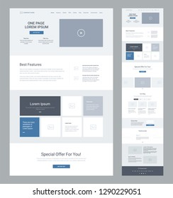 One page website design template for business. Landing page wireframe. Flat modern responsive design. Ux ui website: home, features, gallery, offer, slider, blog, subscribe, testimonials, news.