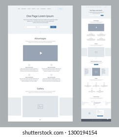 One page website design template for business. Landing page wireframe. Flat modern responsive design. Ux ui website: home, advantages, gallery, special benefits, steps, testimonials, contacts.