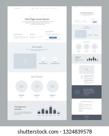 One page website design template for business. Landing page wireframe. Flat modern responsive design. Ux ui website: home, features, advantages, opportunities, statistics, FAQ, offer and management.