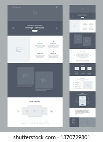 One page website design template for business. Landing page wireframe. Flat modern responsive design. Ux ui website: home, features, about, works, benefits, advantages, prices, testimonials, contacts.