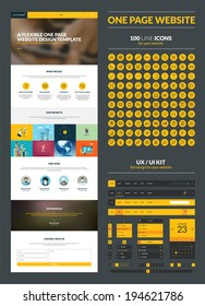 One page website design template. All in one set for website design that includes one page website templates, set of 100 line icons, ux/ui kit for website design, and flat design illustrations.
