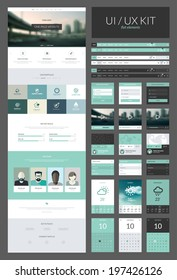 One page website design template. All in one set for website design that includes one page website templates and ux/ui kit for website design.
