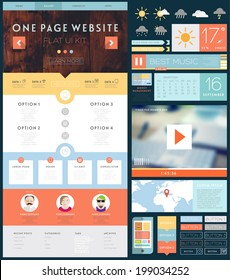 One Page Website Design Template with UI Elements kit, Flat Design Concept Icons and Blurred Smooth Backgrounds. Mobile Phones and Tablet PC Designs. Set of Forms and Buttons. Vector.
