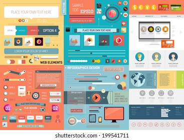 One Page Website Design Template with UI Elements kit and Flat Design Concept Icons. Mobile Phones and Tablet PC Designs. Set of Forms, Dividers, Borders and Buttons. Business Style. Vector.