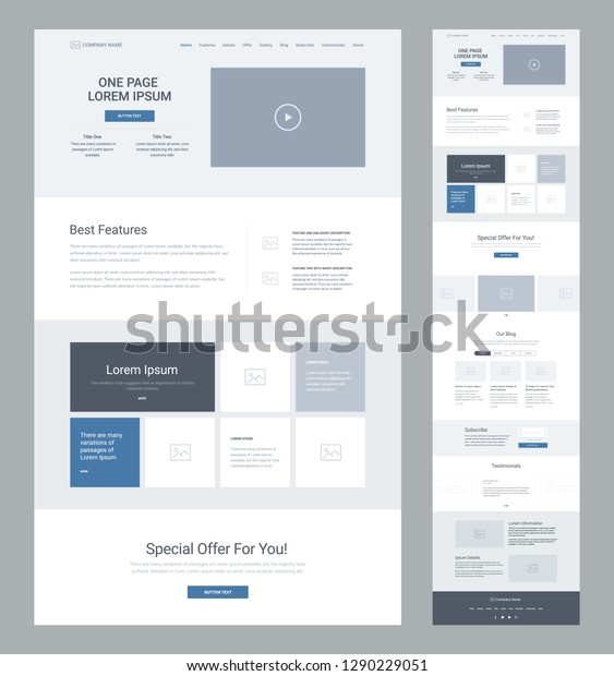One Page Website Design Template Business Stock Vector