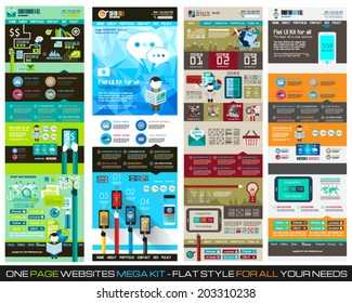 One page website flat UI design template SET 1. It include a lot of flat stlyle icons, forms, header, footeer, menu, banner and spaces for pictures and icons all in one page.