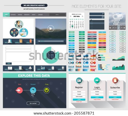 One page website flat ui design stock vector royalty free one page website flat ui design template with icons forms header option menu maxwellsz