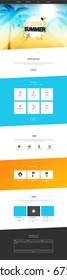 One Page Website Template With Abstract Summer Header Design. Website Wireframe in Eps 10 Illustration.