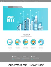 One Page Website Template with Flat illustration of Smart City Header Design