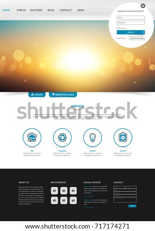 one page website template simple and clean design with blurred header design vector illustration - One Page Website Template Free
