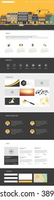 One Page Website Template Vector Eps10, Modern Web Design with flat UI elements and town illustration. Ideal for Business layout.
