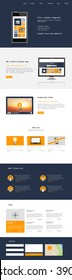 One Page Website Template Vector Eps10, Modern Web Design with flat UI elements. Ideal for Business layout.