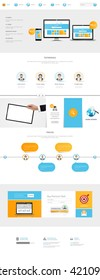 One Page Website Template Vector Eps10, Modern Web Design with flat UI elements. Ideal for Business layout