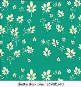 One pattern with flowers and leaves, retro design