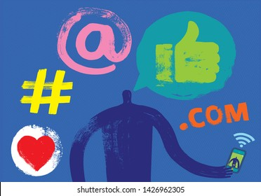 One Person communicating with another person on smartphone, Head and Shoulders, Silhouette, Social Media Symbols, Grunge Texture, Skyping, Skype Call, WhatsApp, Webcam, audio, video, online, Camera