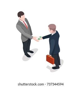 One person gives money to another, bribe, financial crime isometric illustration