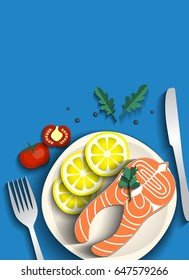 One piece of baked salmon grilled lemon on blue background