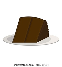 One piece of chocolate cake on a plate