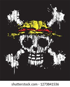One piece jolly roger straw hat pirates logo poster