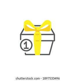 One purchase order line icon. linear style sign for mobile concept and web design. One gift box outline vector icon. Symbol, logo illustration. Vector graphics